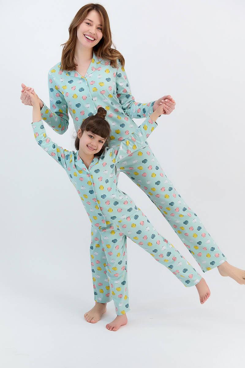RolyPoly - RolyPoly Hendgehogs Açık Mint Kız Çocuk Gömlek Pijama Takımı (1)