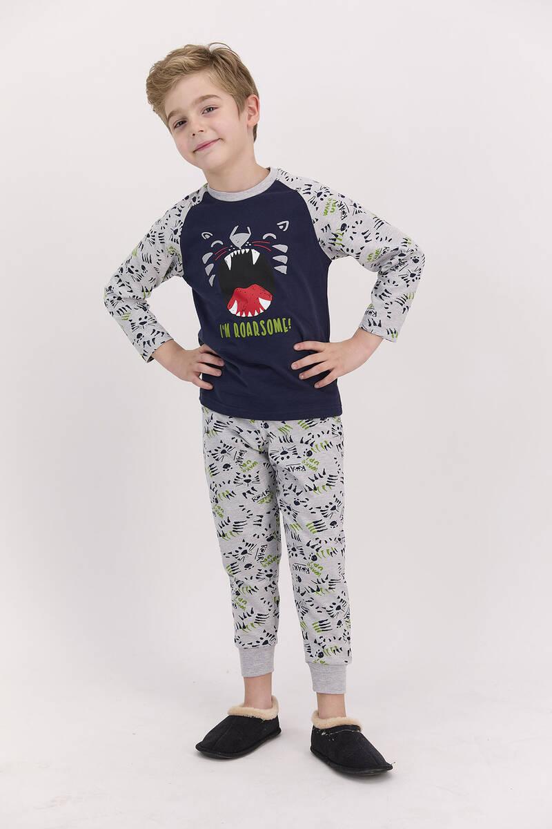 RolyPoly - RolyPoly I'm Roarsome Lacivert Erkek Çocuk Pijama Takımı