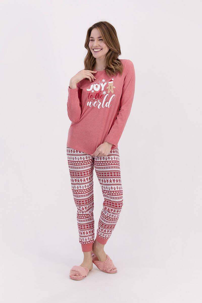 RolyPoly - RolyPoly Joy To The World Kırmızımelanj Kadın Pijama Takımı