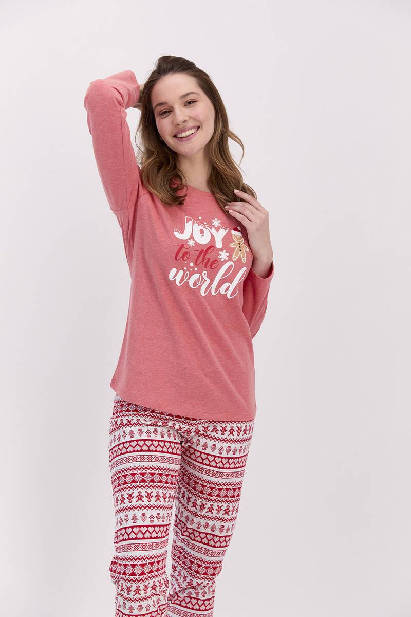 RolyPoly - RolyPoly Joy To The World Kırmızımelanj Kadın Pijama Takımı (1)