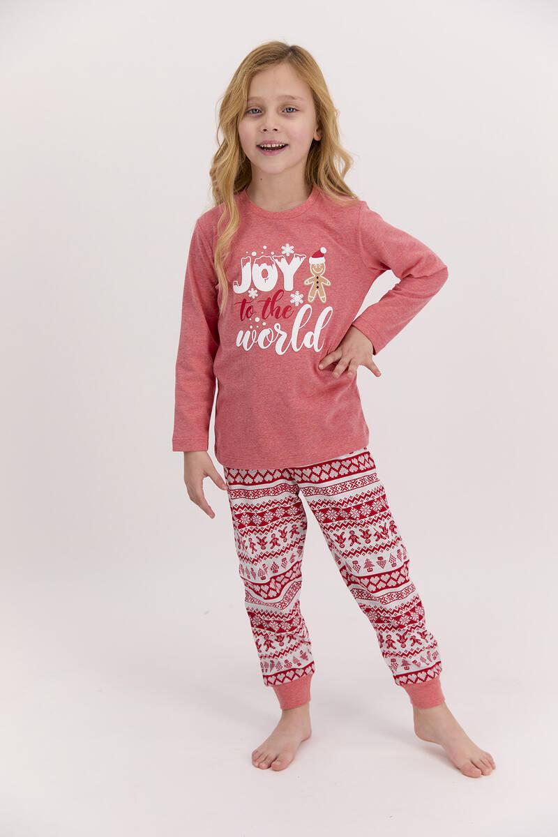 RolyPoly - RolyPoly Joy To The World Kırmızımelanj Kız Çocuk Pijama Takımı