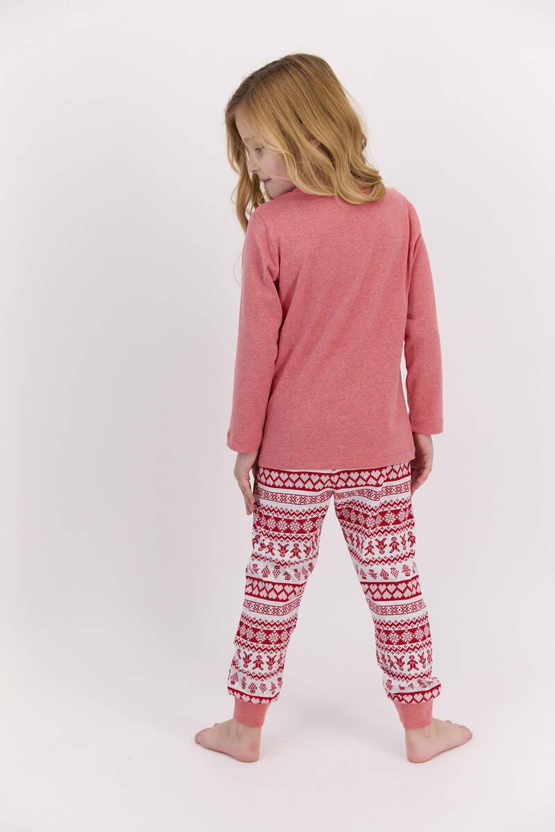 RolyPoly - RolyPoly Joy To The World Kırmızımelanj Kız Çocuk Pijama Takımı (1)