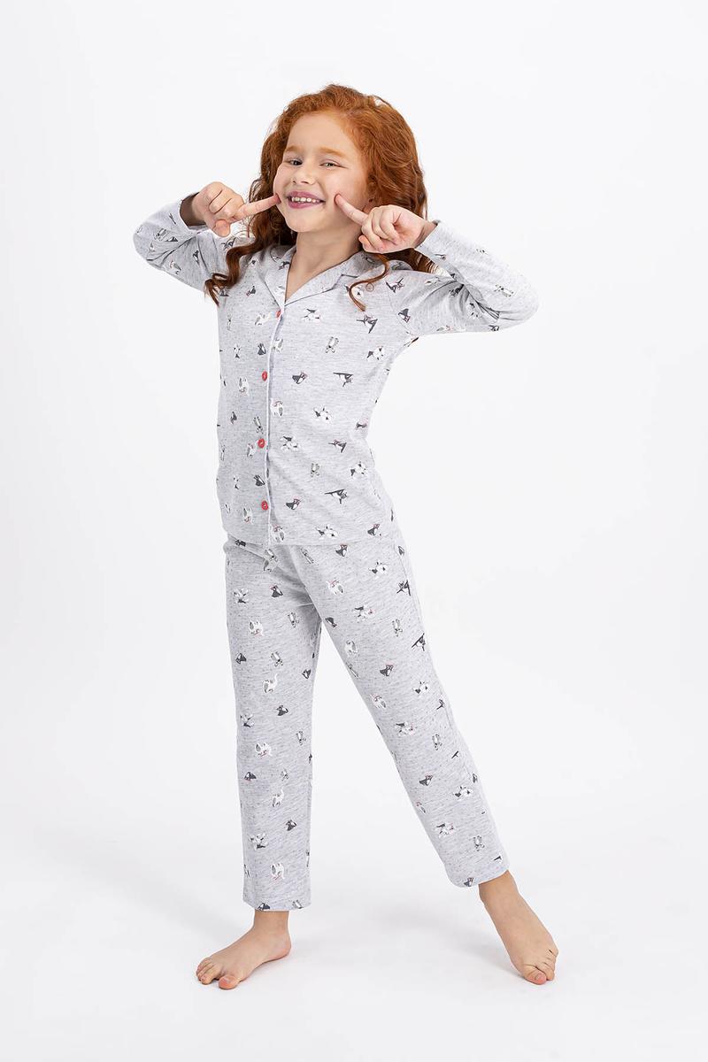 RolyPoly - Rolypoly Karamelanj Little Cats Kız Çocuk Gömlek Pijama Takımı