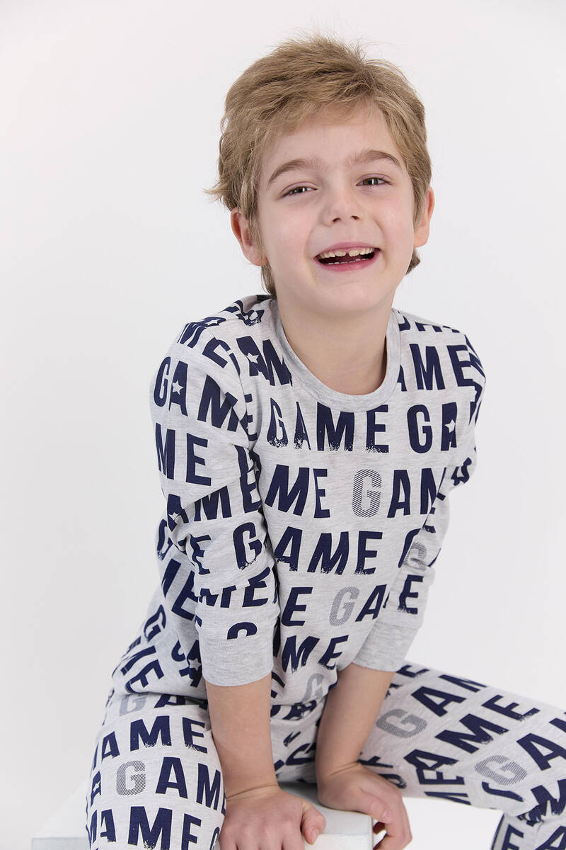 RolyPoly - RolyPoly Karmelanj Erkek Çocuk Ribanalı Uzun Kol Pijama Takımı
