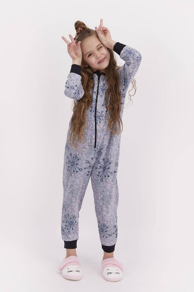 RolyPoly - Rolypoly Kız Çocuk Polar Tulum Grı