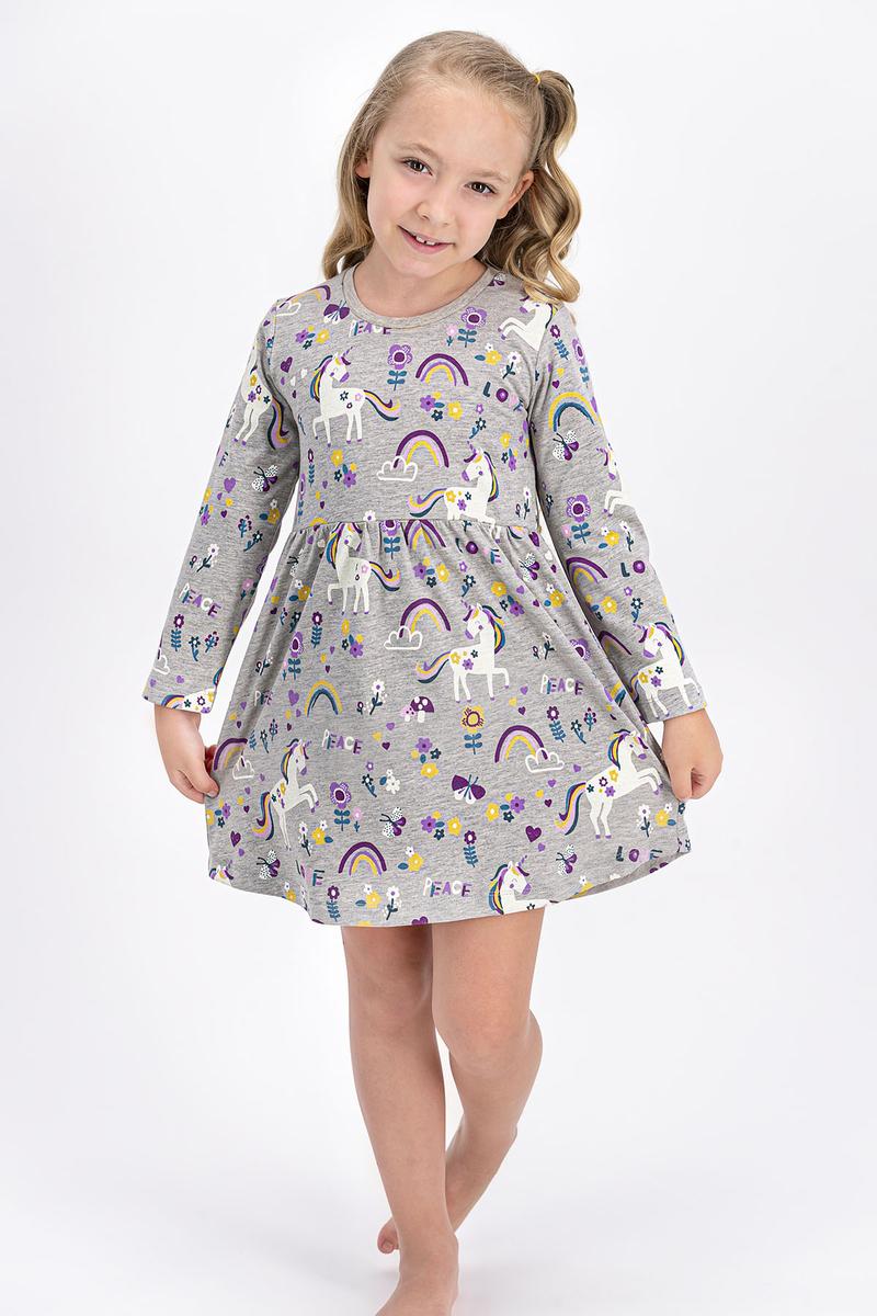 RolyPoly - Rolypoly Lovely Peace Unicorn Bej Melanj Kız Çocuk Elbise