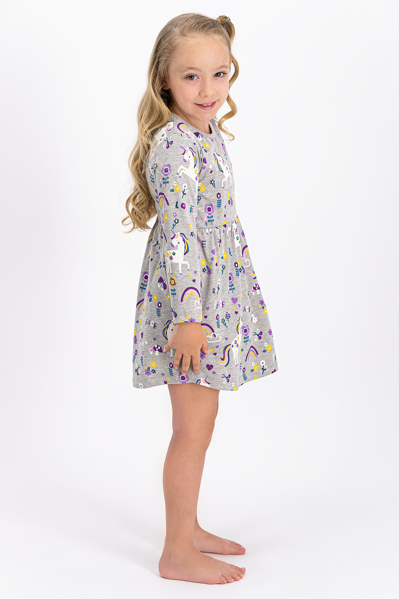 RolyPoly - Rolypoly Lovely Peace Unicorn Bej Melanj Kız Çocuk Elbise (1)