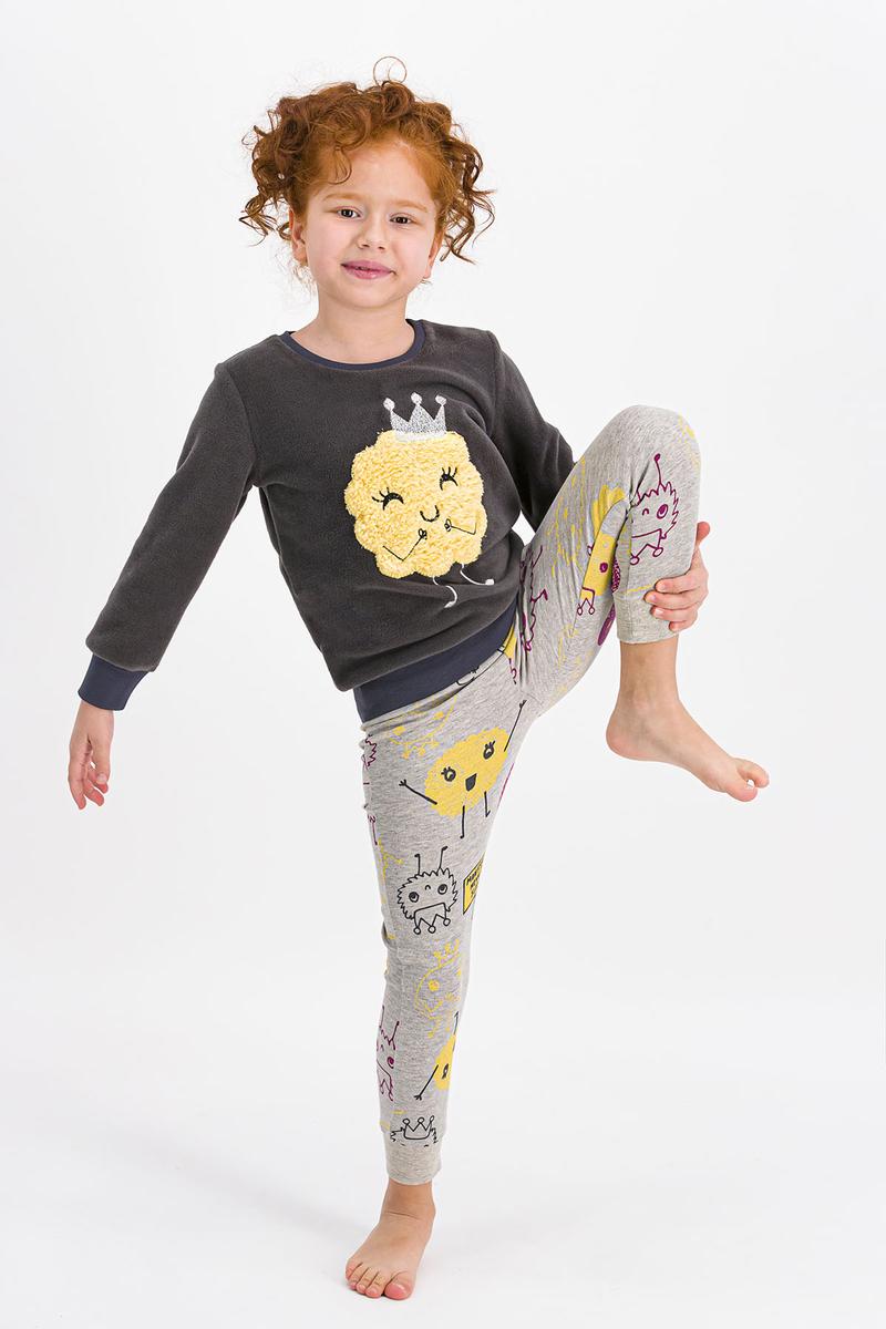 RolyPoly - Rolypoly Monsters Queen Antrasit Kız Çocuk Polar Pijama Takımı (1)
