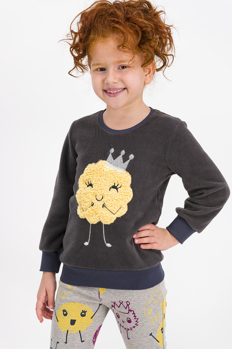 RolyPoly - Rolypoly Monsters Queen Antrasit Kız Çocuk Polar Pijama Takımı