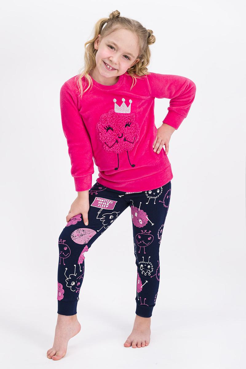RolyPoly - Rolypoly Monsters Queen Pembe Kız Çocuk Polar Pijama Takımı
