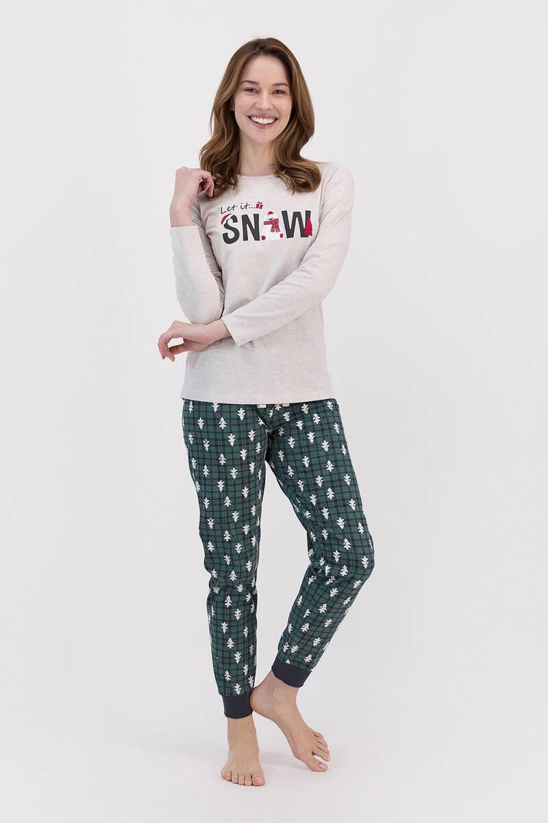 RolyPoly - RolyPoly Let İt Snow Açık Bejmelanj Kadın Pijama Takımı