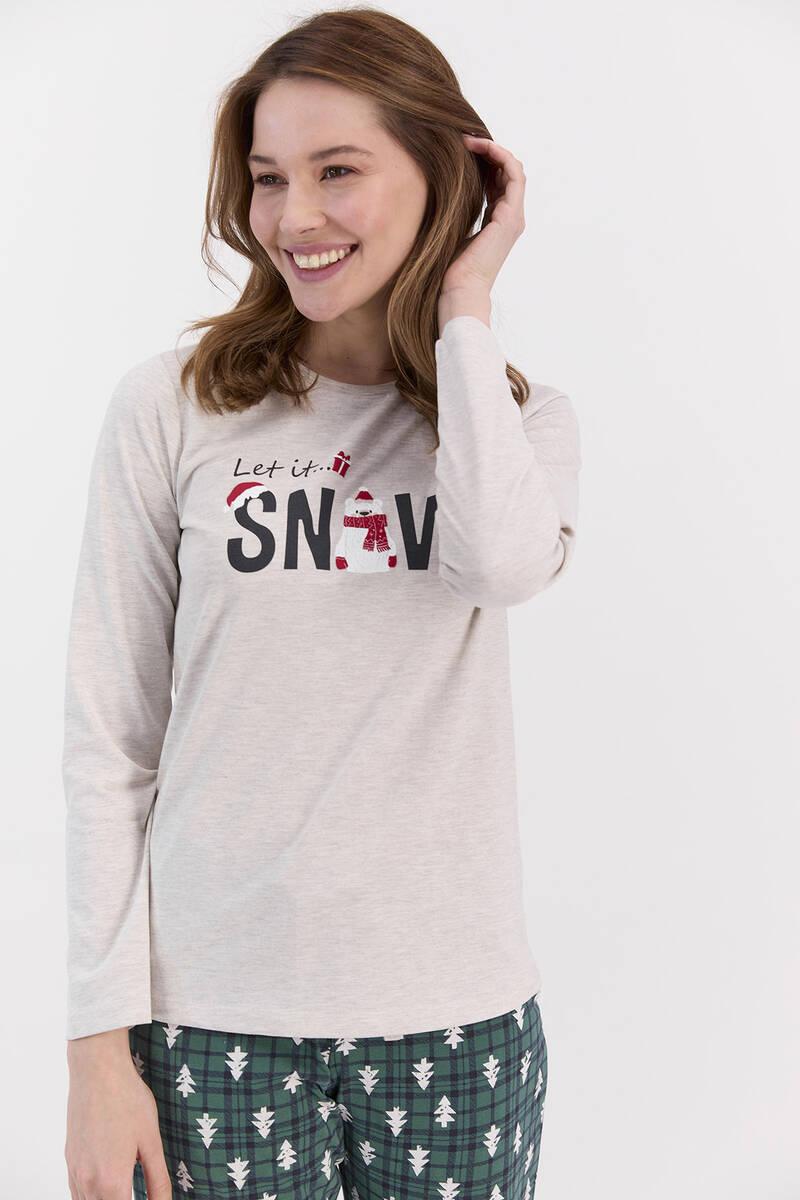 RolyPoly - RolyPoly Let İt Snow Açık Bejmelanj Kadın Pijama Takımı (1)