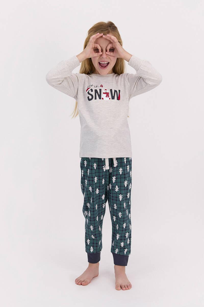 RolyPoly - RolyPoly Let İt Snow Açık Bejmelanj Kız Çocuk Pijama Takımı