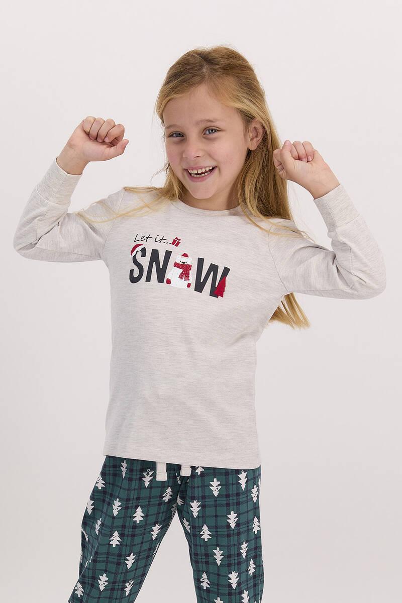 RolyPoly - RolyPoly Let İt Snow Açık Bejmelanj Kız Çocuk Pijama Takımı (1)