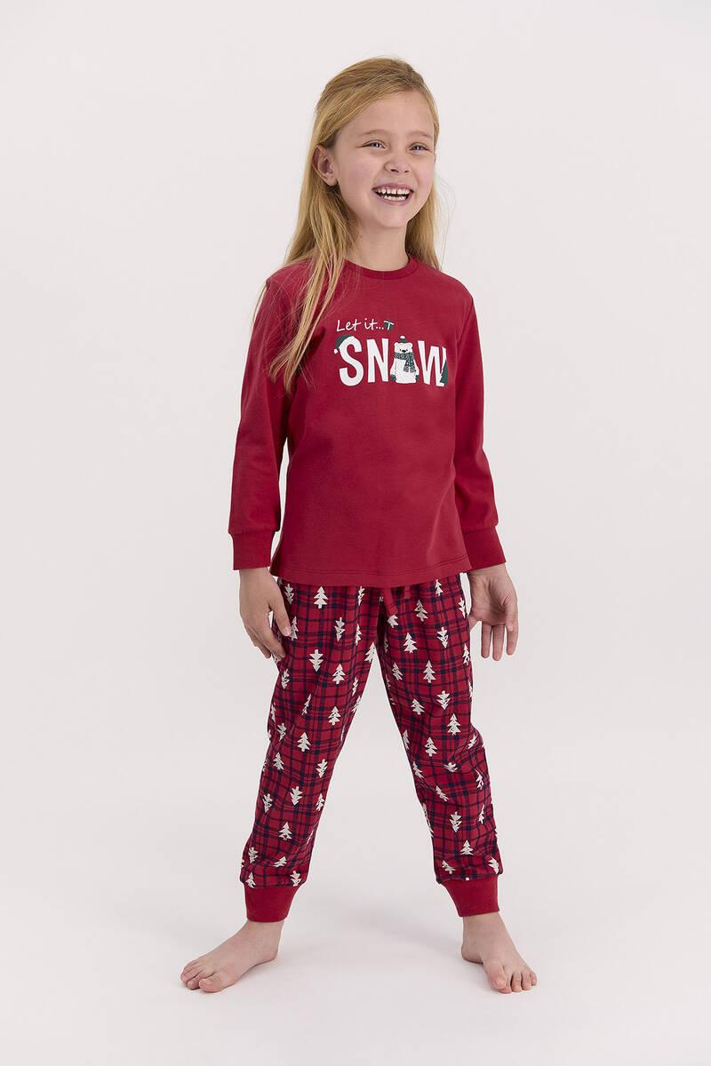 RolyPoly - RolyPoly Let İt Snow Açık Bordo Kız Çocuk Pijama Takımı