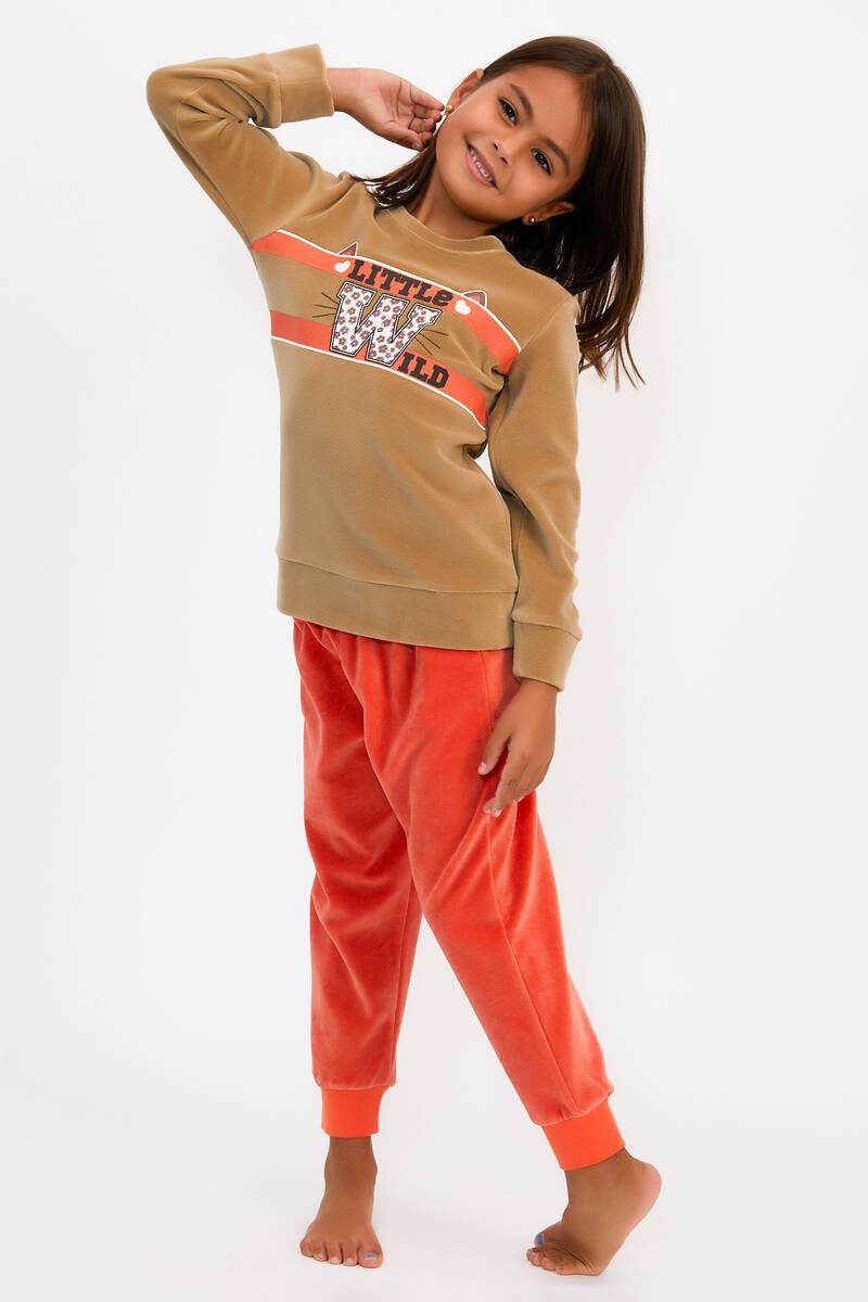 RolyPoly - RolyPoly Little Wild Camel Kız Çocuk Kadife Eşofman Takımı (1)