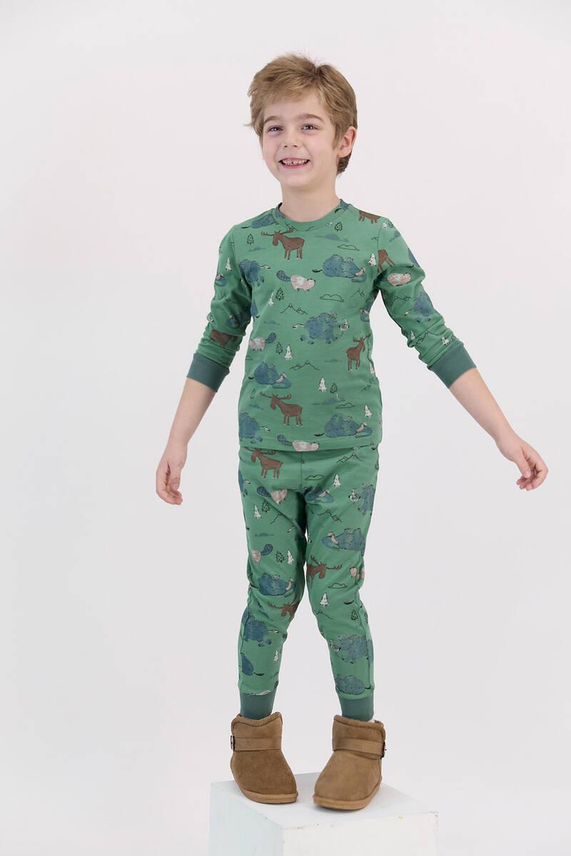 RolyPoly - RolyPoly Mat Yeşil Erkek Çocuk Ribanalı Uzun Kol Pijama Takımı