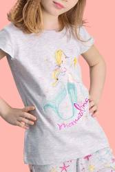 RolyPoly - RolyPoly Mermaid Açık Gri Kız Çocuk Şort Takım (1)