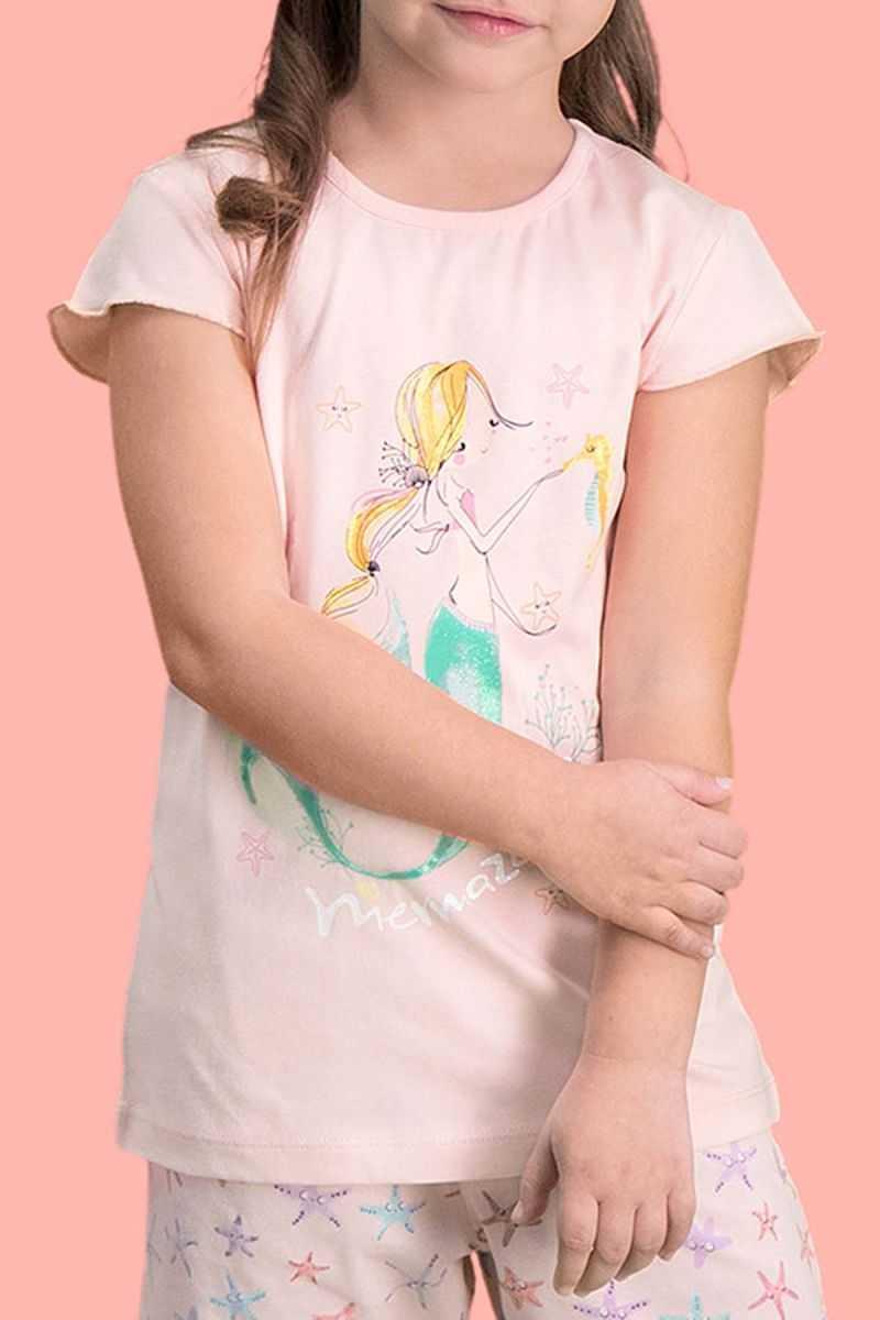 RolyPoly Mermaid İnci Pembe Kız Çocuk Şort Takım