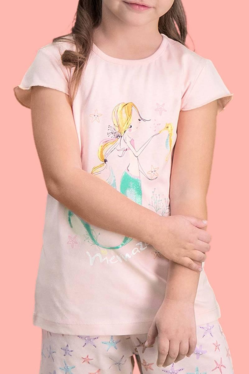 RolyPoly - RolyPoly Mermaid İnci Pembe Kız Çocuk Şort Takım (1)