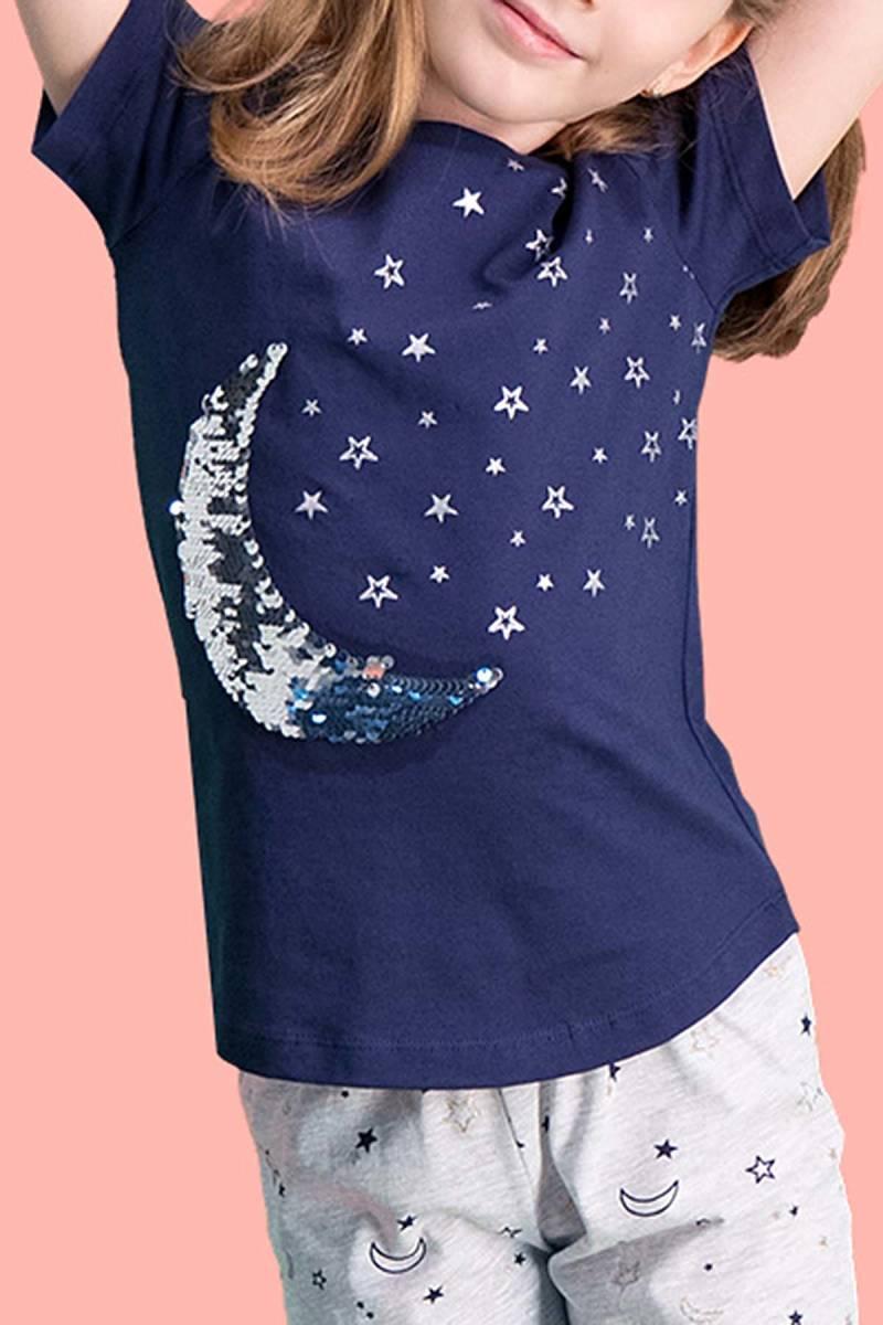 RolyPoly - RolyPoly Moon Star Payet Lacivert Kız Çocuk Kapri Takım (1)
