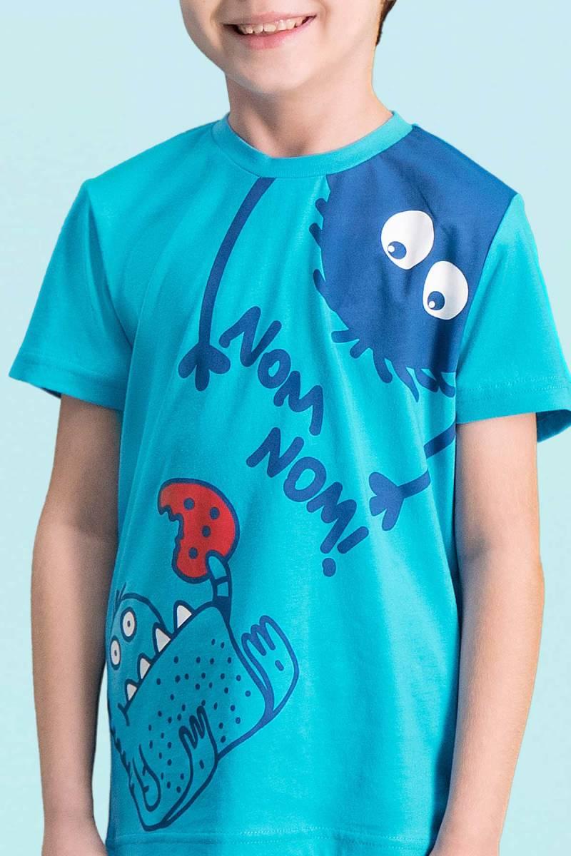 RolyPoly - RolyPoly Nom Nom Deniz Mavisi Erkek Çocuk Kapri Takım (1)