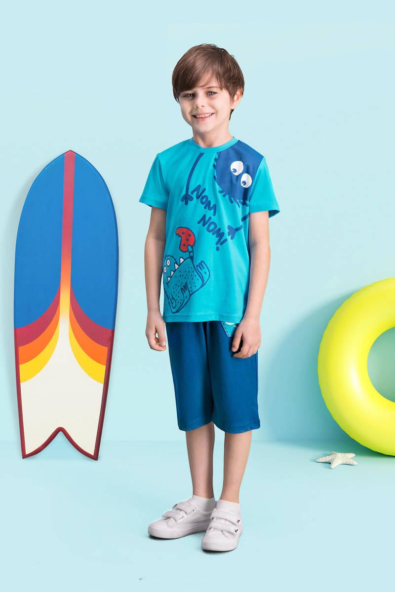 RolyPoly - RolyPoly Nom Nom Deniz Mavisi Erkek Çocuk Kapri Takım
