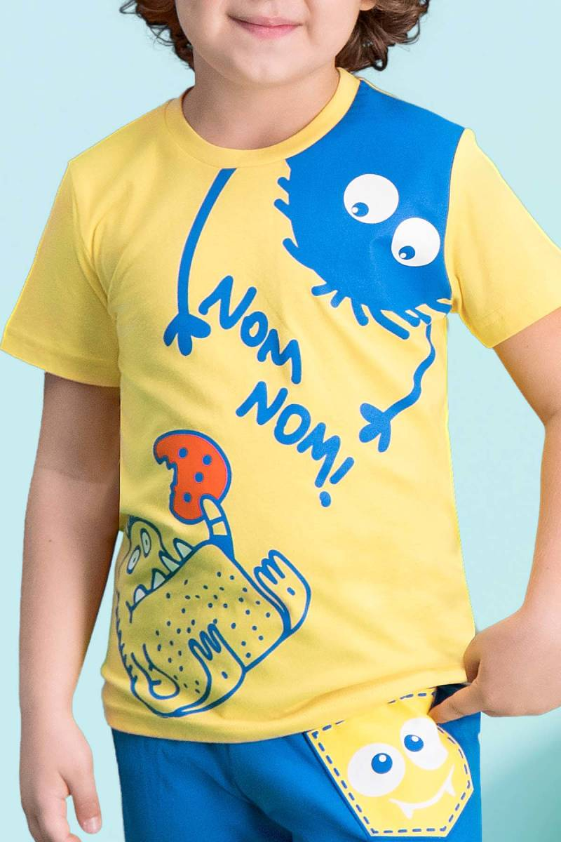 RolyPoly - RolyPoly Nom Nom Sarı Erkek Çocuk Kapri Takım (1)