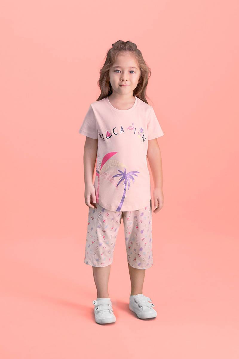 RolyPoly - RolyPoly Palm Vocation İnci Pembe Kız Çocuk Kapri Takım