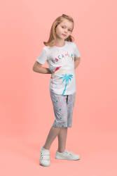 RolyPoly - RolyPoly Palm Vocation Krem Kız Çocuk Kapri Takım