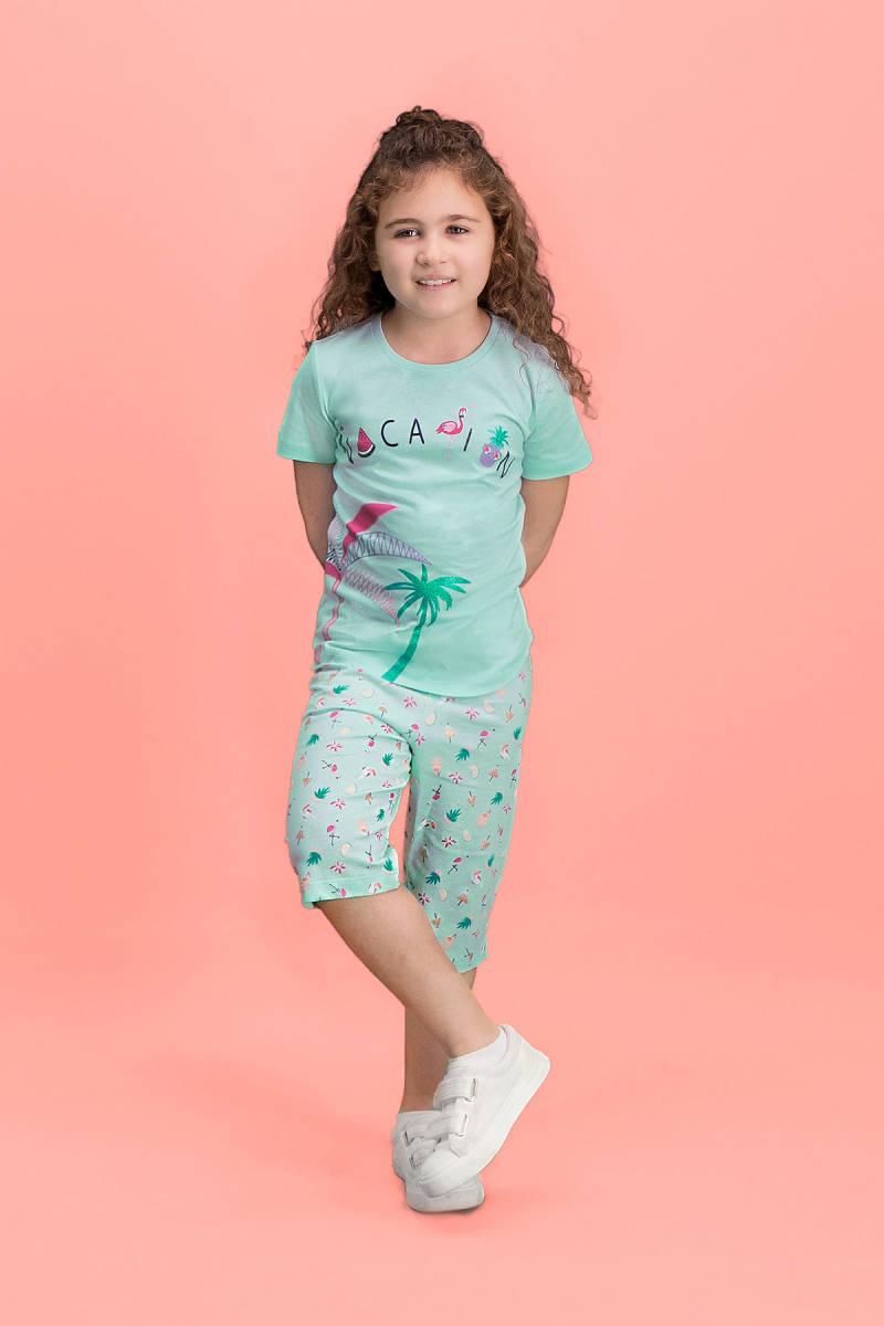 RolyPoly - RolyPoly Palm Vocation Yeşil Kız Çocuk Kapri Takım