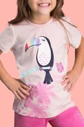 RolyPoly Parrot Pembe Kız Çocuk Bermuda Takım - Thumbnail