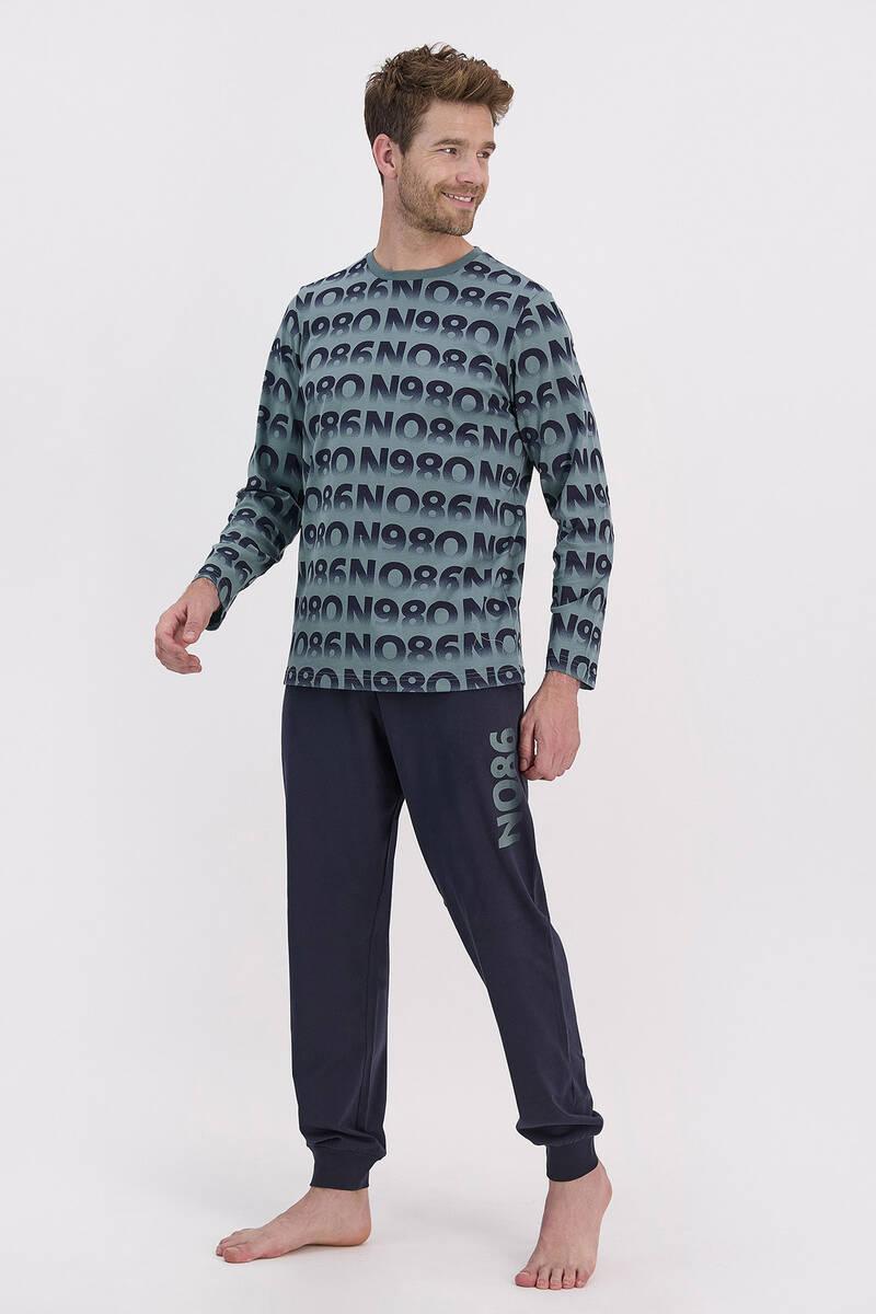 RolyPoly - RolyPoly Petrol Mavisi Erkek Uzun Kol Pijama Takımı