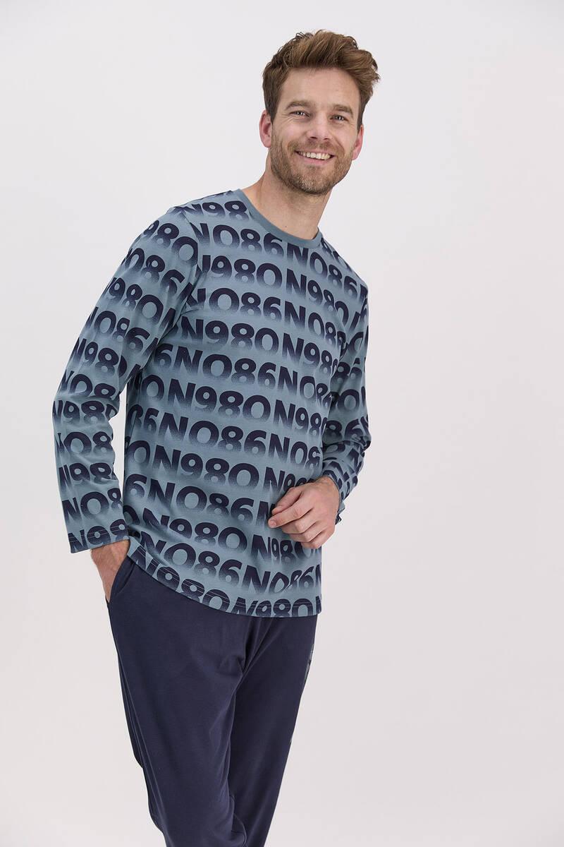RolyPoly - RolyPoly Petrol Mavisi Erkek Uzun Kol Pijama Takımı (1)