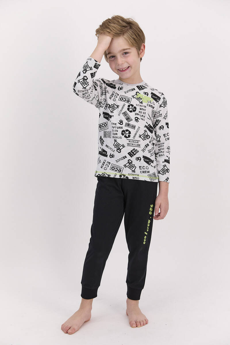 RolyPoly - RolyPoly Planet Crew Karmelanj Erkek Çocuk Pijama Takımı