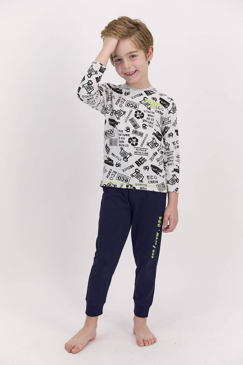 RolyPoly - RolyPoly Planet Crew Karmelanj Lacivert Erkek Çocuk Uzun Kol Pijama Takımı