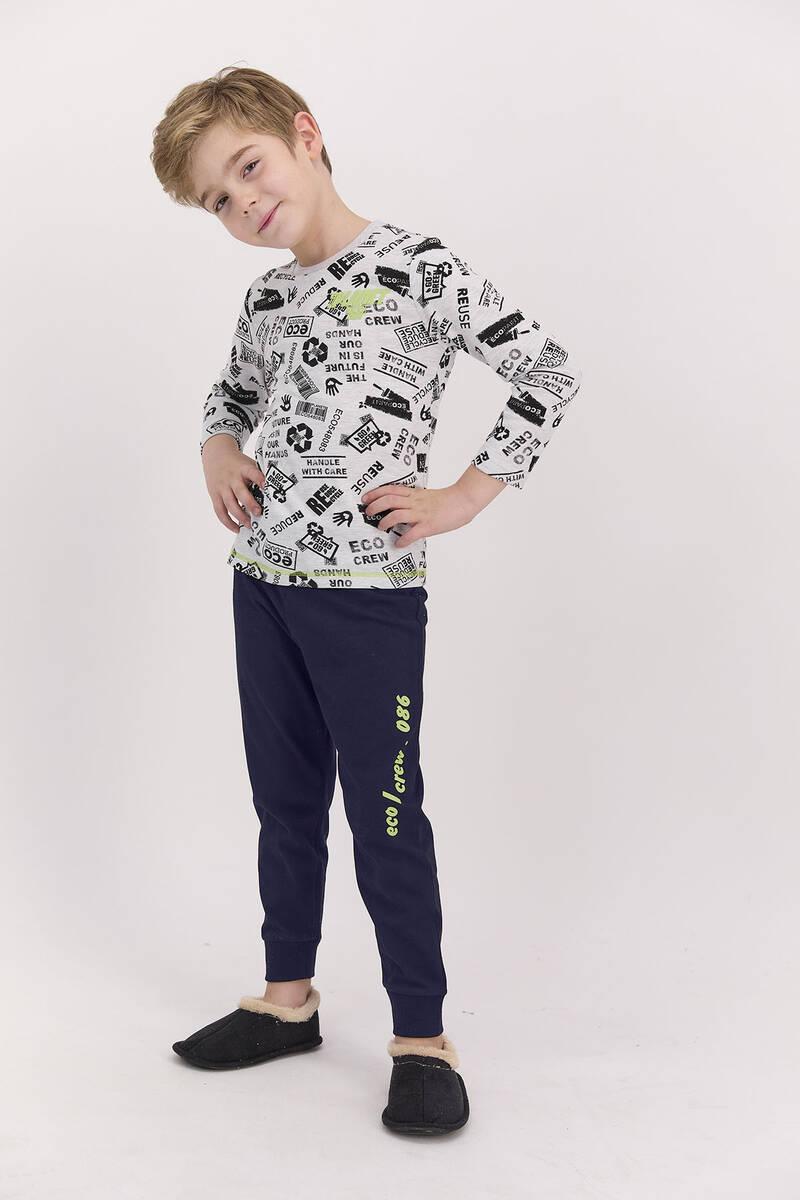 RolyPoly - RolyPoly Planet Crew Karmelanj Lacivert Erkek Çocuk Uzun Kol Pijama Takımı (1)