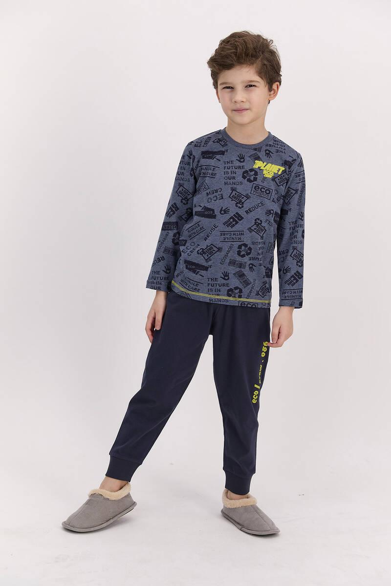 RolyPoly - RolyPoly Planet Crew Lacimelanj Erkek Çocuk Pijama Takımı