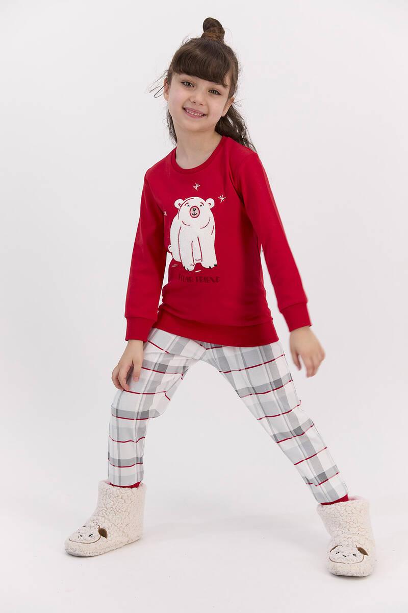 RolyPoly - RolyPoly Polar Friend Kırmızı Kız Çocuk Pijama Takımı