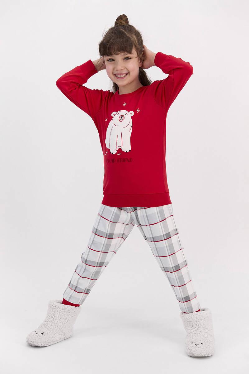 RolyPoly - RolyPoly Polar Friend Kırmızı Kız Çocuk Pijama Takımı (1)