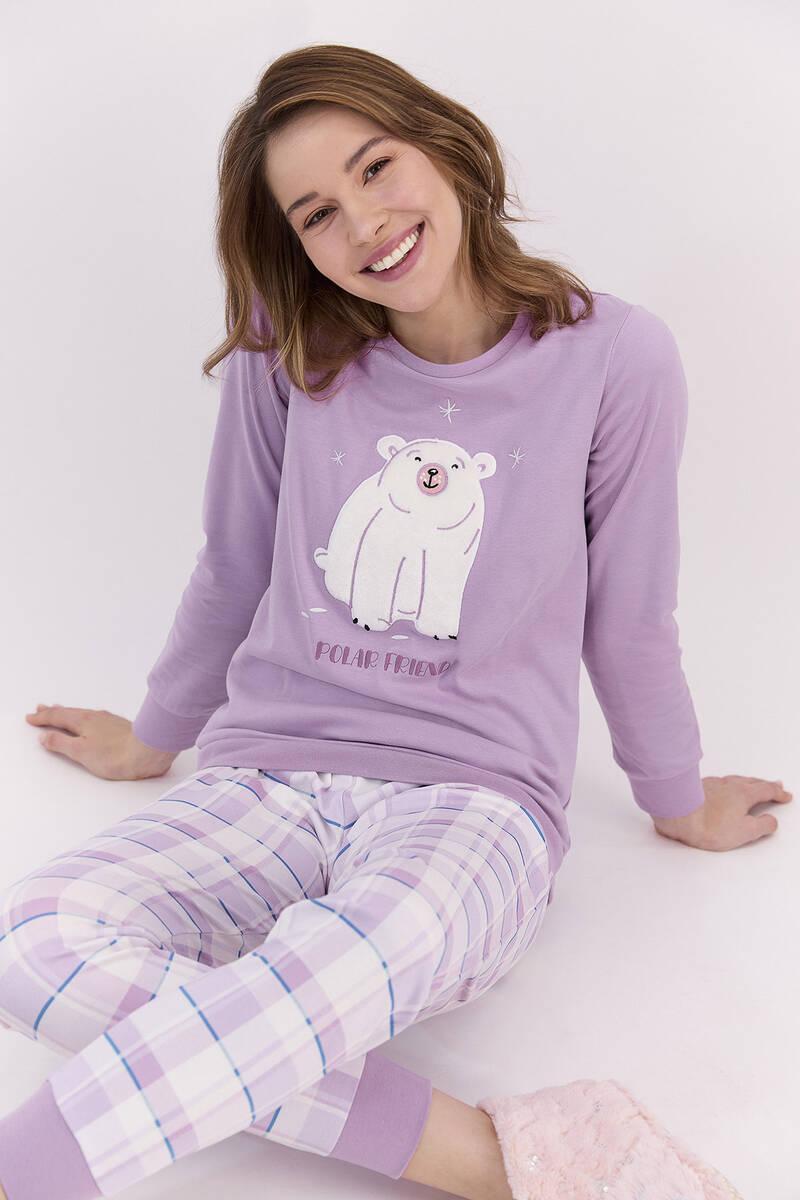 RolyPoly - RolyPoly Polar Friend Lila Kadın Pijama Takımı (1)