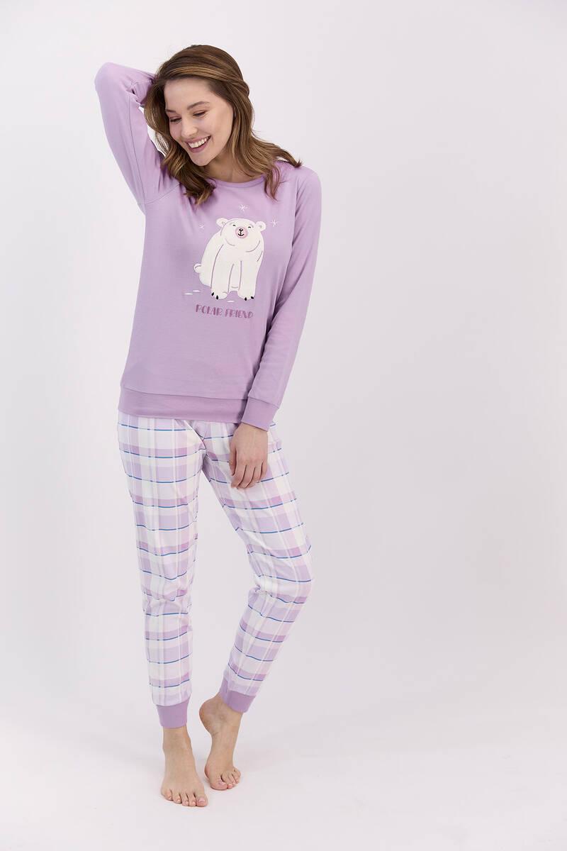 RolyPoly - RolyPoly Polar Friend Lila Kadın Pijama Takımı