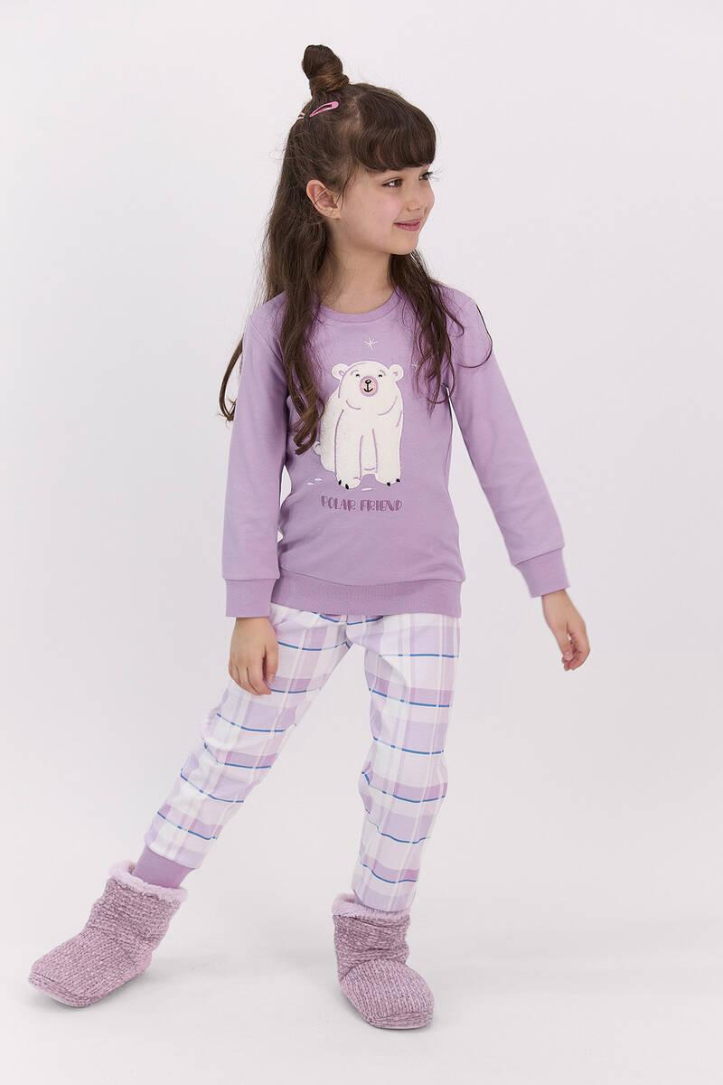 RolyPoly - RolyPoly Polar Friend Lila Kız Çocuk Pijama Takımı