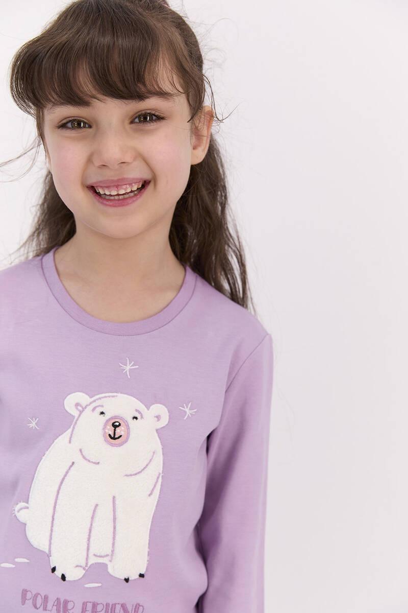 RolyPoly - RolyPoly Polar Friend Lila Kız Çocuk Pijama Takımı (1)