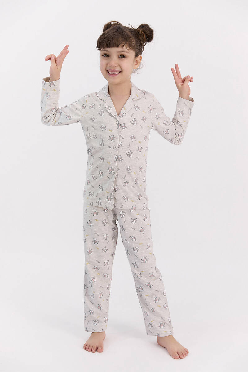 RolyPoly - RolyPoly Relax Bejmelanj Kız Çocuk Gömlek Pijama Takımı