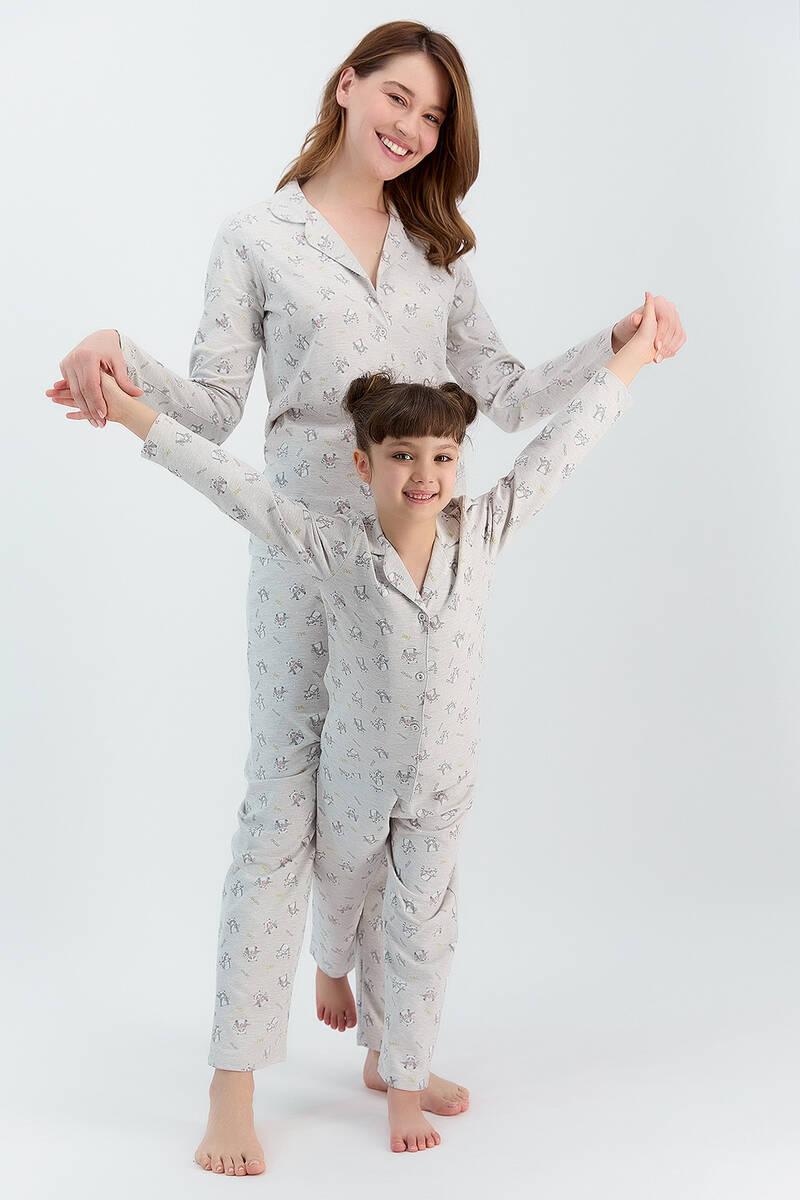 RolyPoly - RolyPoly Relax Bejmelanj Kız Çocuk Gömlek Pijama Takımı (1)