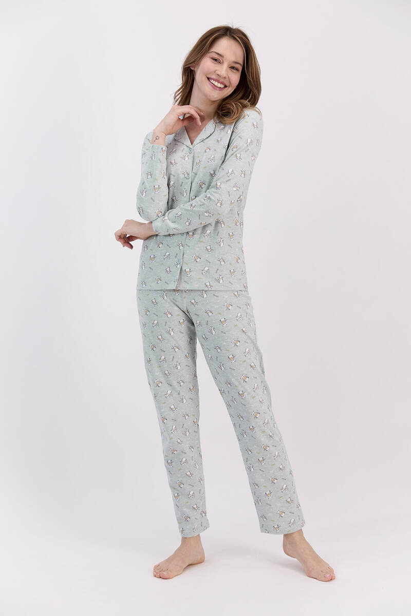 RolyPoly - RolyPoly Relax Yeşilmelanj Kadın Gömlek Pijama Takımı