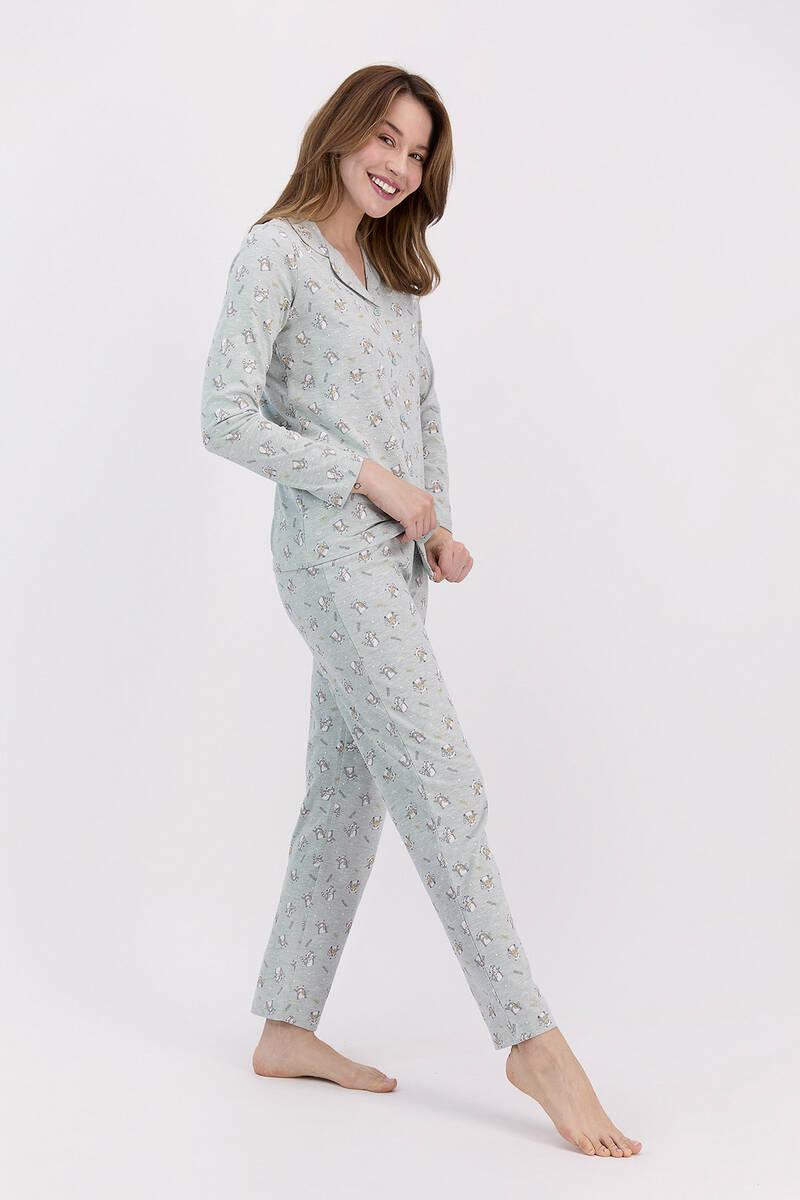 RolyPoly - RolyPoly Relax Yeşilmelanj Kadın Gömlek Pijama Takımı (1)