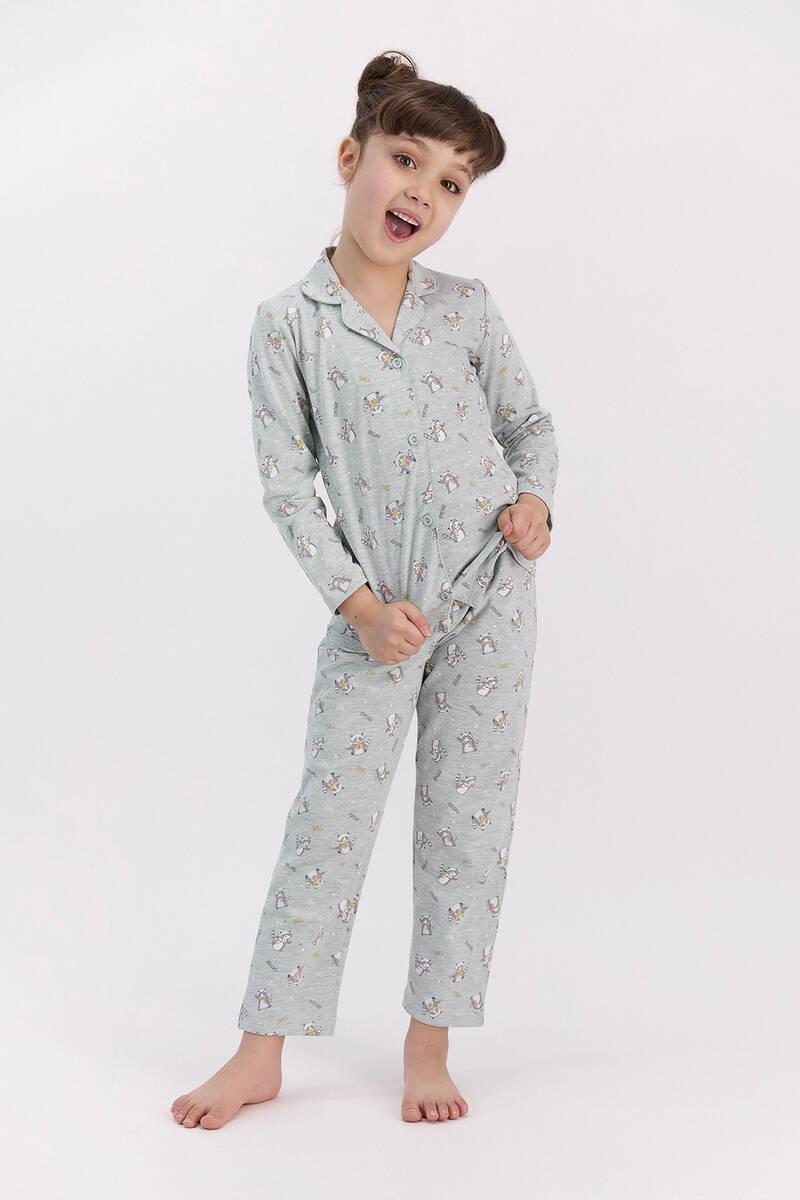 RolyPoly - RolyPoly Relax Yeşilmelanj Kız Çocuk Gömlek Pijama Takımı
