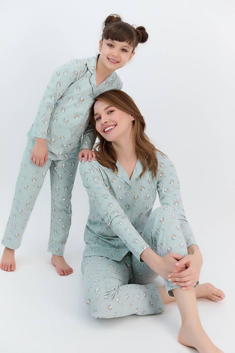 RolyPoly - RolyPoly Relax Yeşilmelanj Kız Çocuk Gömlek Pijama Takımı (1)
